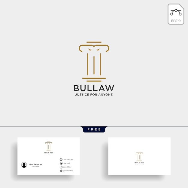 Logo d'avocat de pilier élégant Vecteur Premium