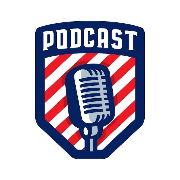 Logo De Badge Podcast Vecteur Premium