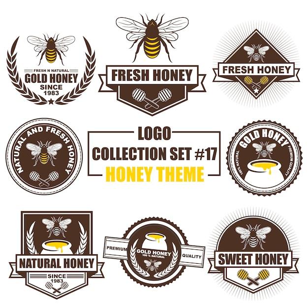 Logo, Badge, Symbole, Icône, Collection De Designs D'étiquette Sertie De Thème Au Miel Vecteur Premium