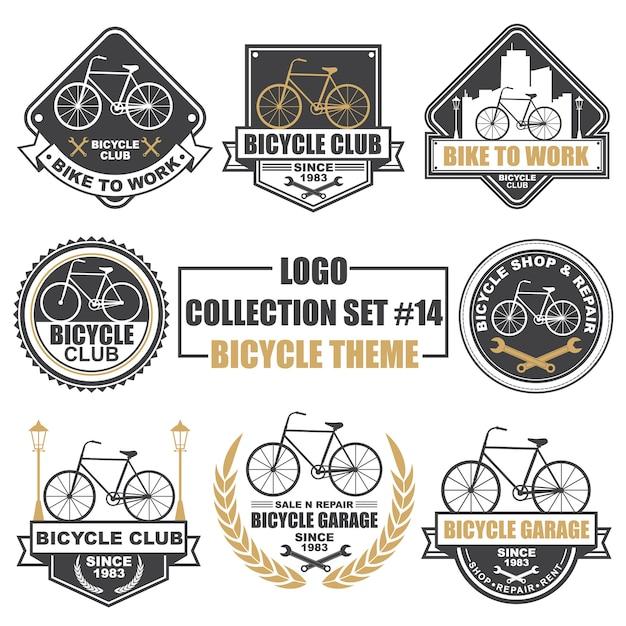 Logo, badge, symbole, icône, collection de designs d'étiquette sertie de thème bicyclette Vecteur Premium