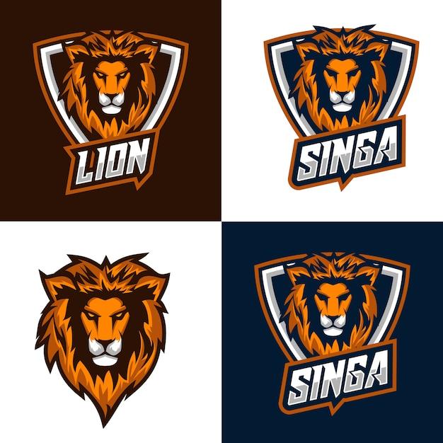 Logo et badges du lion Vecteur Premium