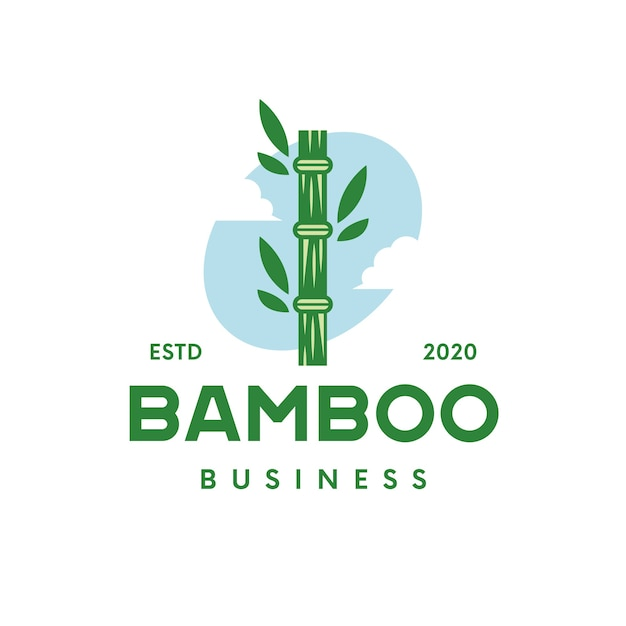 Logo En Bambou Vecteur Premium