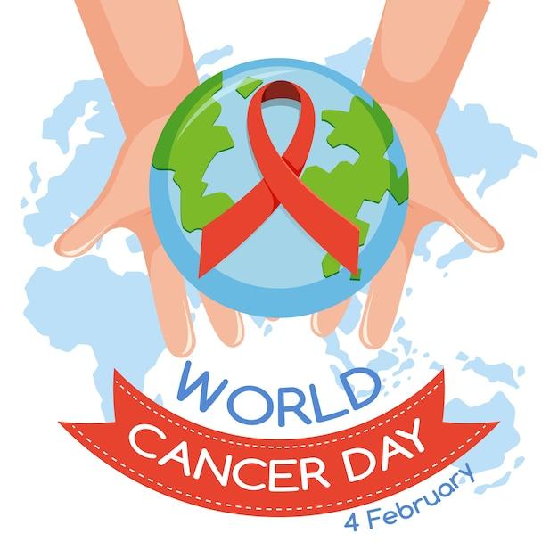Logo Ou Bannière De La Journée Mondiale Du Cancer Avec Un Ruban Rouge Et Un Globe Vecteur Premium