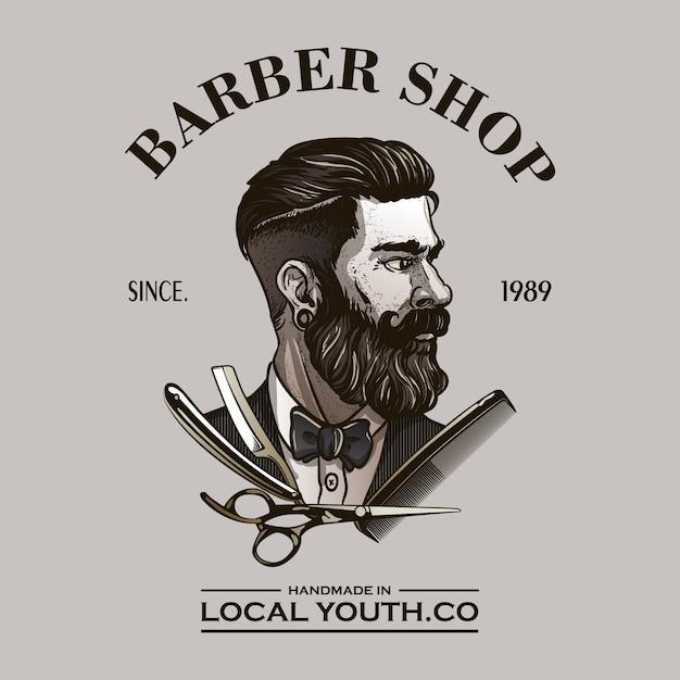 Logo de barbier Vecteur Premium