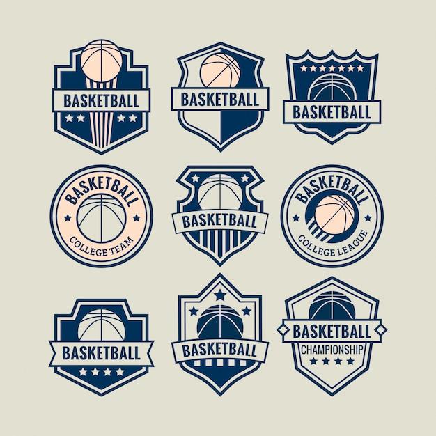 Logo de basket-ball défini pour un match de championnat ou une équipe universitaire Vecteur Premium