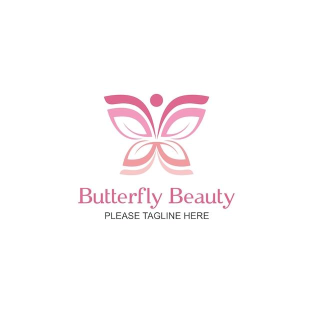 Logo de beauté de papillon Vecteur Premium