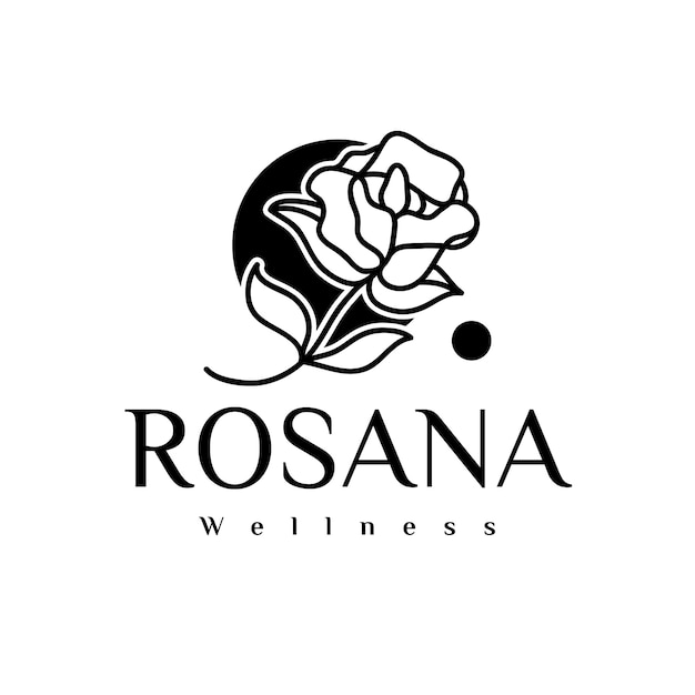 Logo De Beauté Rose Noire Vecteur Premium