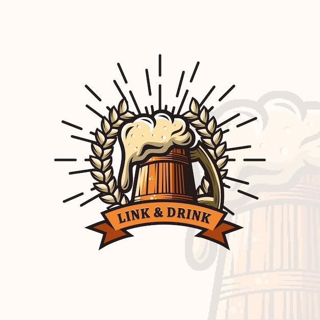Logo de la bière Vecteur Premium