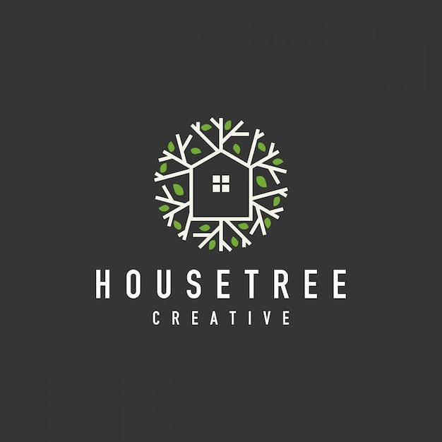 Logo Bio Maison De L'arbre Vecteur Premium