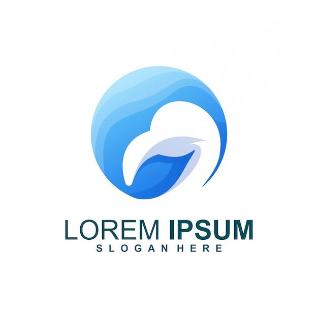 Logo bleu pélican Vecteur Premium