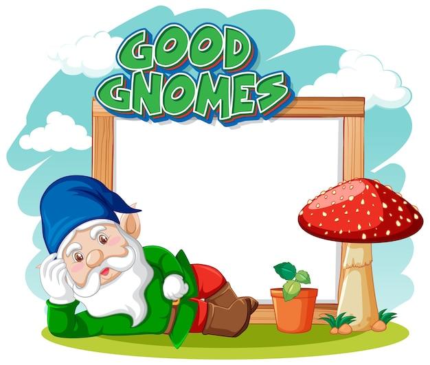 Logo De Bons Gnomes Avec Bannière Vierge Sur Blanc Vecteur Premium