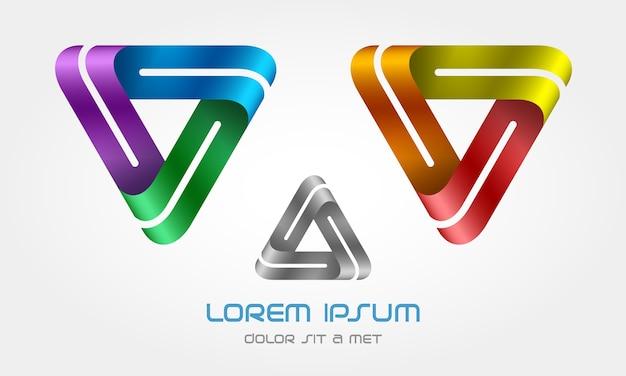 Logo En Boucle Du Triangle Créatif Vecteur Premium