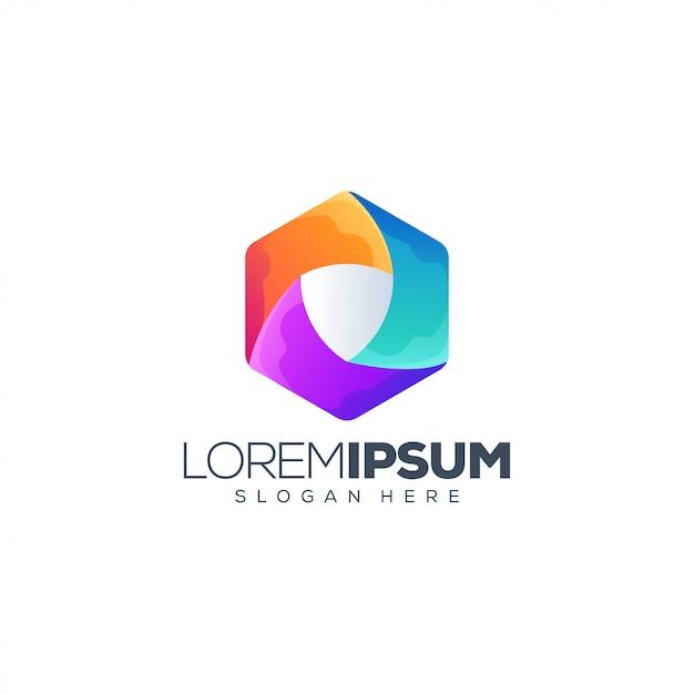 Logo de bouclier coloré Vecteur Premium