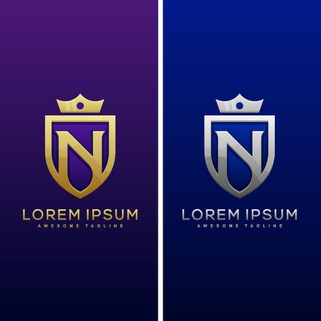 Logo de bouclier lettre n et icône de bouclier Vecteur Premium