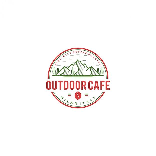 Logo de café en plein air, café italie Vecteur Premium