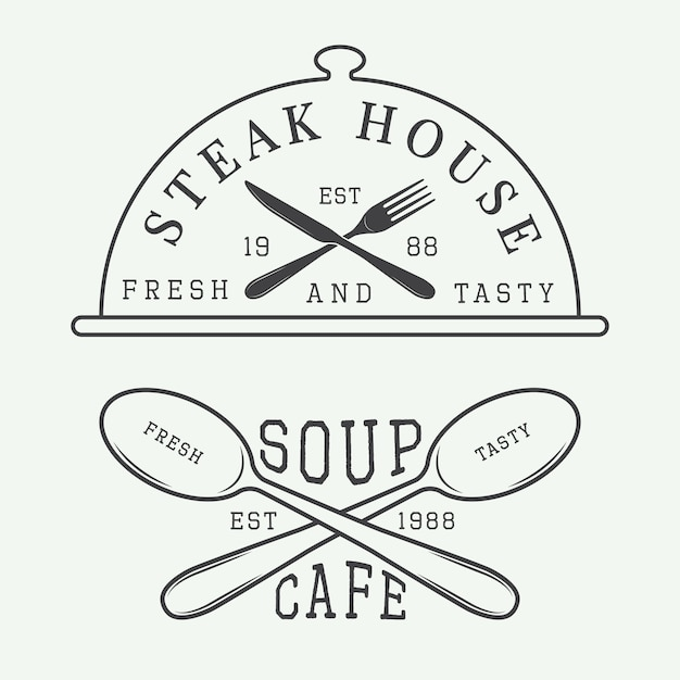 Logo de café et steak house Vecteur Premium