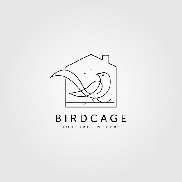 Logo De Cage à Oiseaux Dessin Au Trait Vecteur Premium