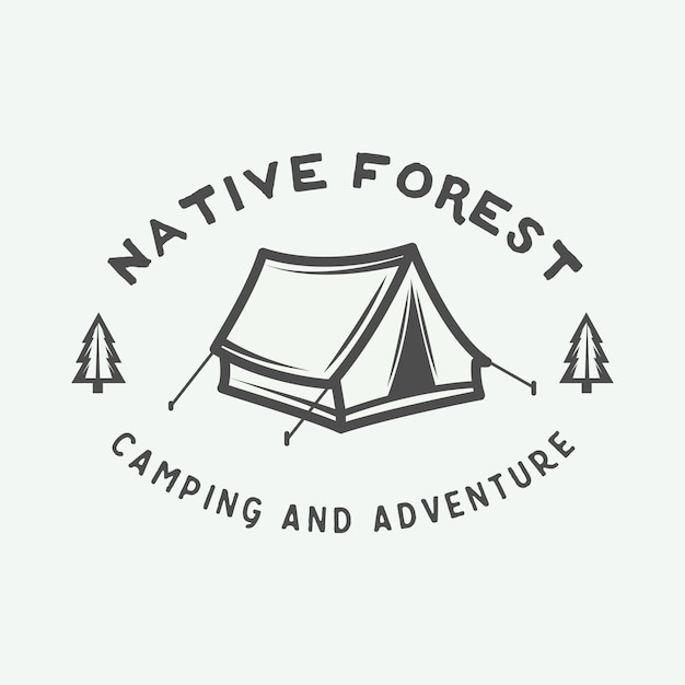 Logo camping en plein air Vecteur Premium