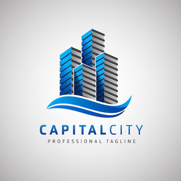 Logo de la capitale de l'immobilier Vecteur Premium