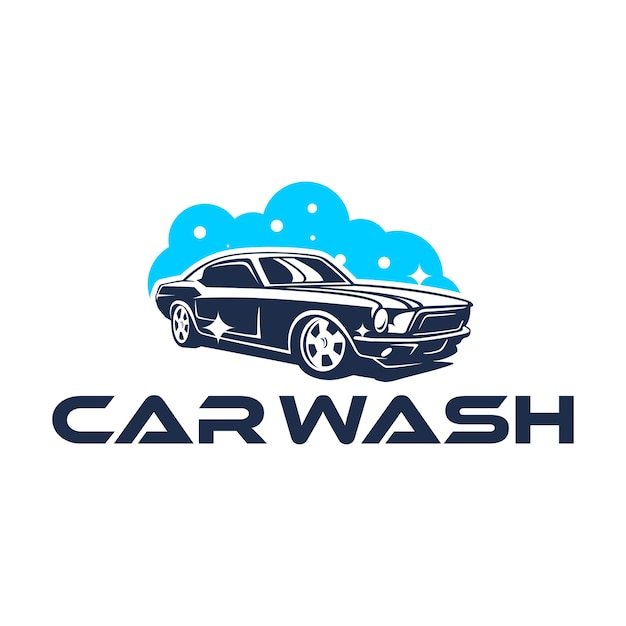 Logo car wash avec une voiture classique Vecteur Premium