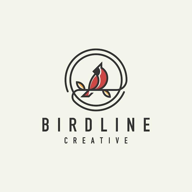 Logo cardinal rouge unique Vecteur Premium
