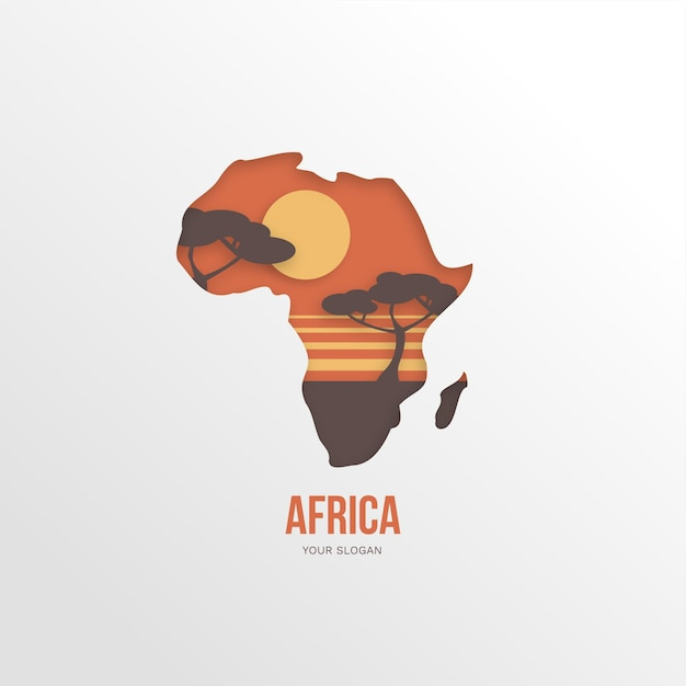 Logo De La Carte Africaine Avec Des Arbres Au Coucher Du Soleil Vecteur gratuit
