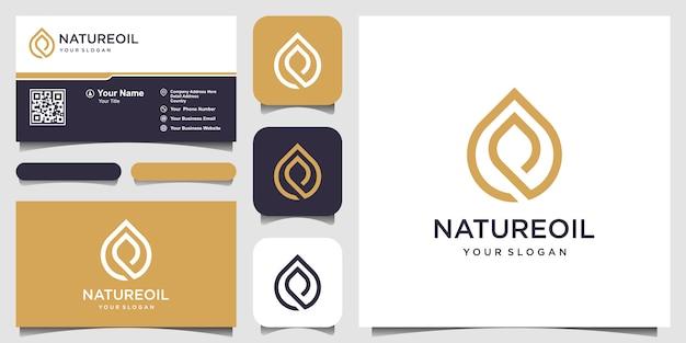 Logo Et Carte De Visite De L'huile D'olive Et Des Feuilles Vecteur Premium