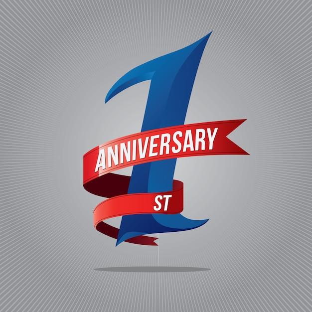 Logo De Célébration D'anniversaire D'un An. 1er Logo D'anniversaire Vecteur Premium