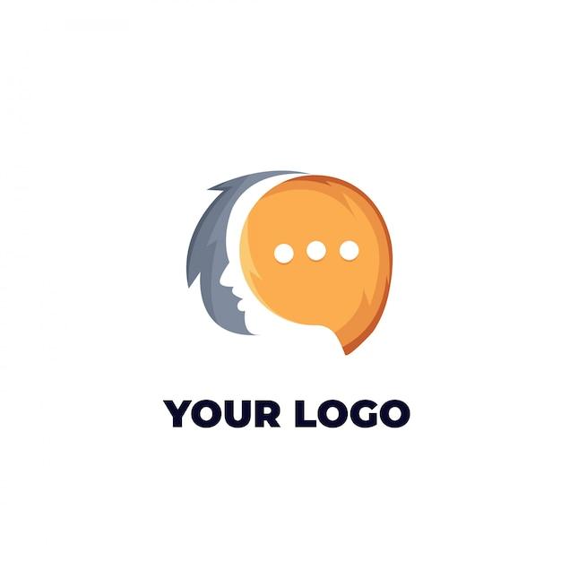 Logo de chat face Vecteur Premium