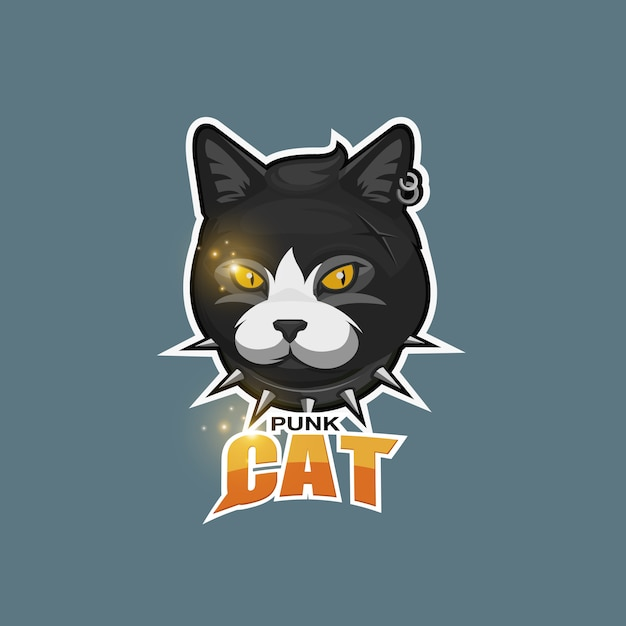 Logo de chat punk Vecteur Premium