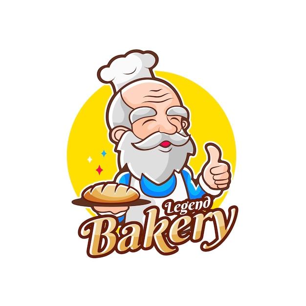 Logo De Chef De Boulangerie De Vieil Homme Pour La Boulangerie De Légende Vecteur Premium