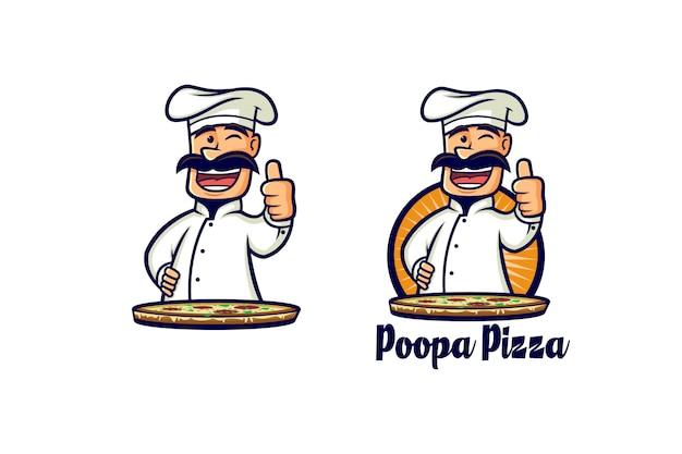 Logo De Chef De Pizza Rétro Vecteur Premium