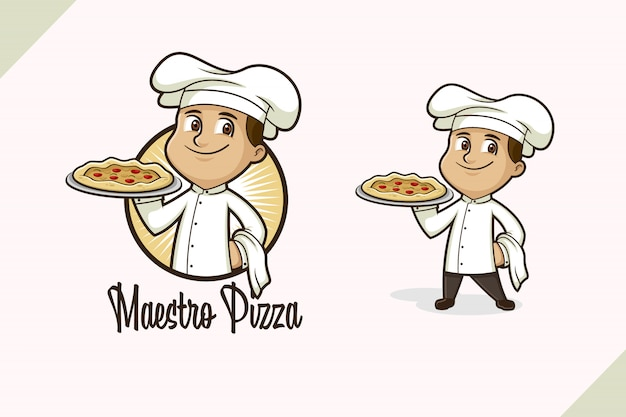 Logo De Chef De Pizza Vecteur Premium