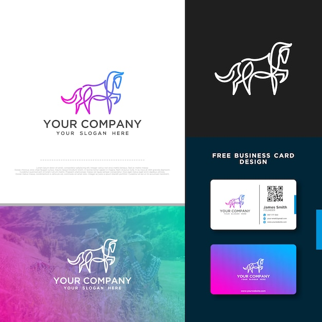 Logo de cheval avec conception de carte de visite gratuite Vecteur Premium