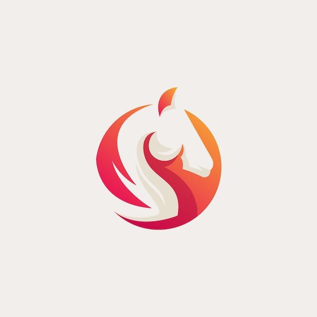 Logo cheval orange Vecteur Premium