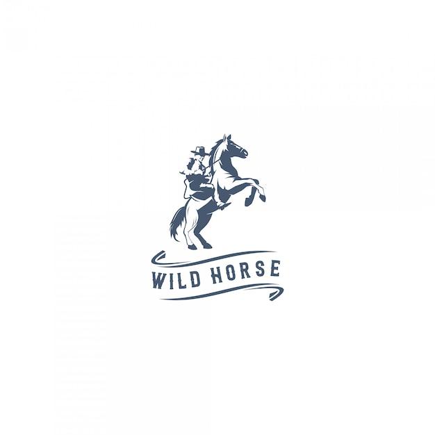 Logo de cheval sauvage Vecteur Premium