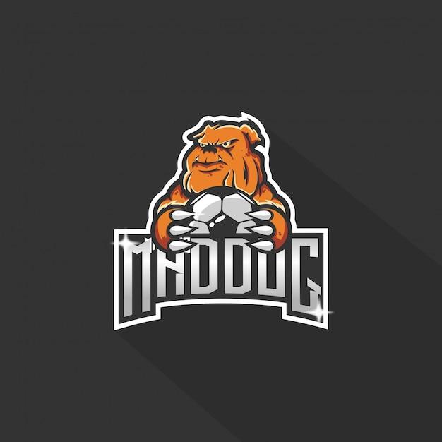 Logo chien e-sport Vecteur Premium