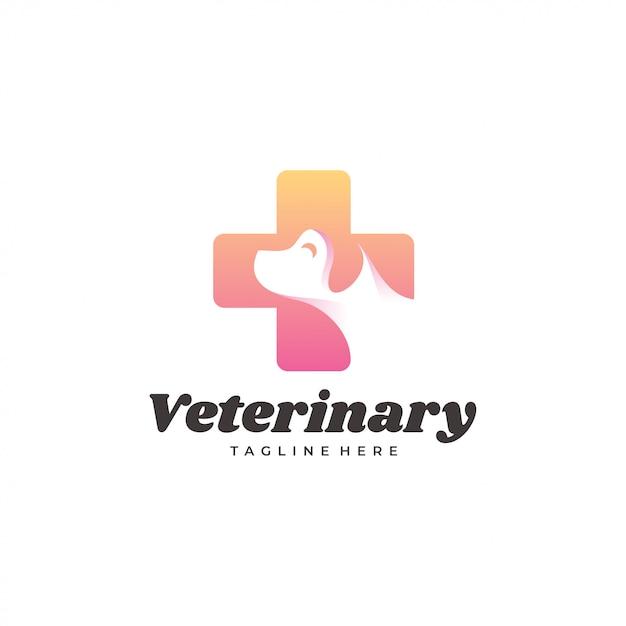 Logo de chien vétérinaire moderne chien et croix Vecteur Premium