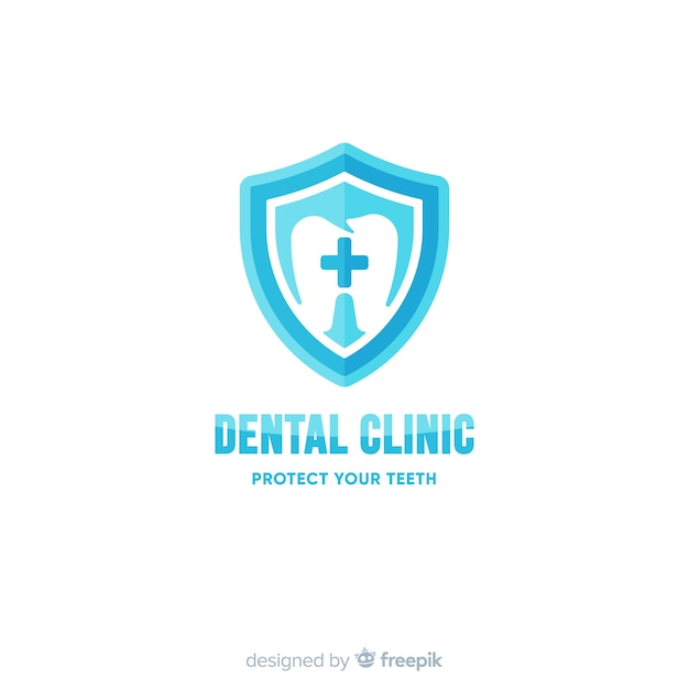 Logo de clinique dentaire plate Vecteur gratuit