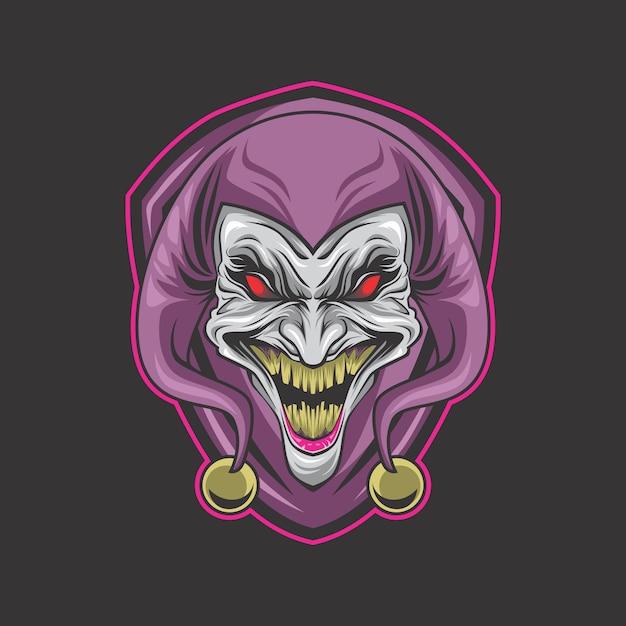 Logo de clown fou Vecteur Premium