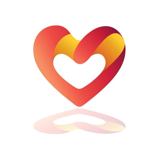 Logo coeur avec variations en lettre g Vecteur Premium