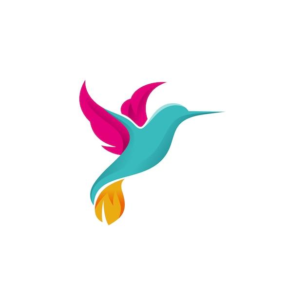 Logo colibri Vecteur Premium