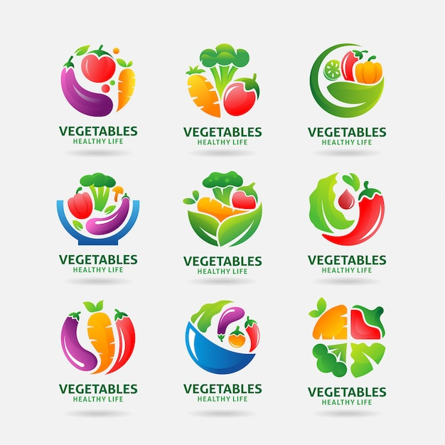 Logo de la collection de légumes Vecteur Premium
