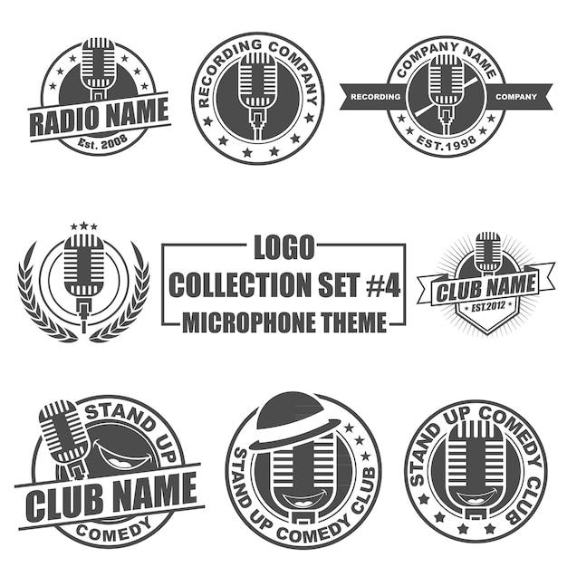 Logo collection set avec thème microphone Vecteur Premium