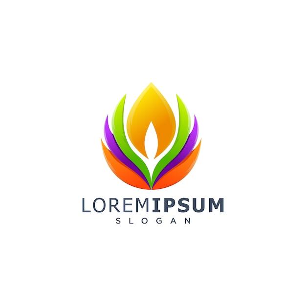 Logo coloré de lotus Vecteur Premium
