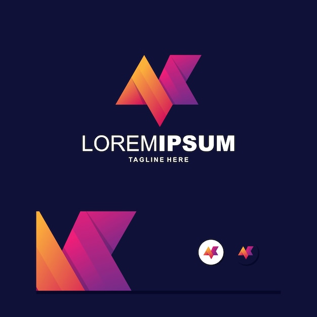 Logo Coloré Numérique Lettre M Vecteur Premium