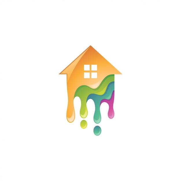 Logo coloré de peinture maison et gouttes Vecteur Premium