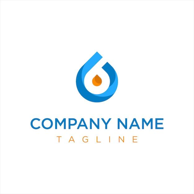 Logo de la compagnie de gazole bleu et orange Vecteur Premium