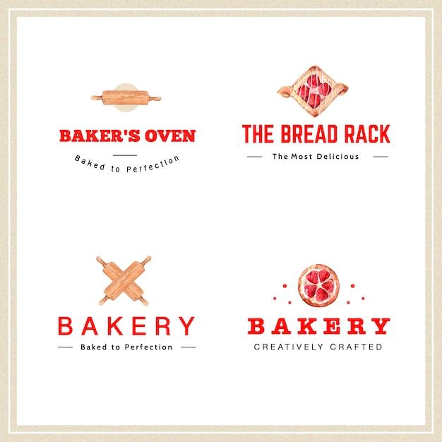 Logo De Conception De Boulangerie Pour Restaurant Et Café Vecteur gratuit