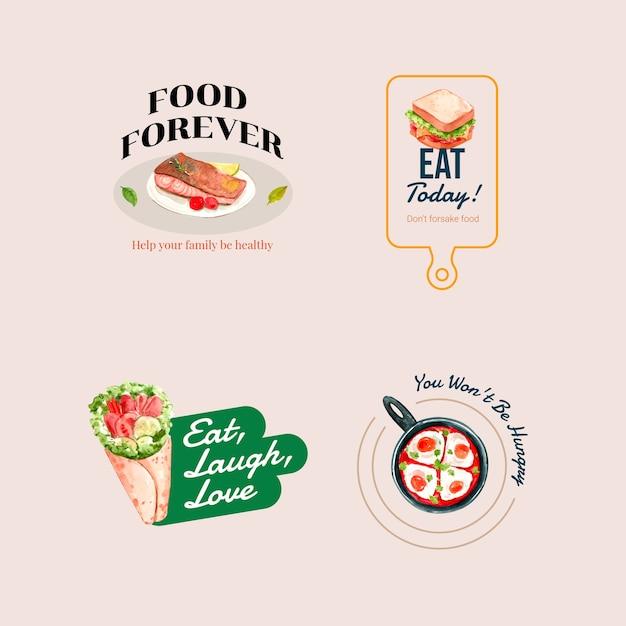 Logo Avec Conception De Concept De Journée Mondiale De L'alimentation Pour Le Restaurant Et L'aquarelle De Marque Vecteur gratuit